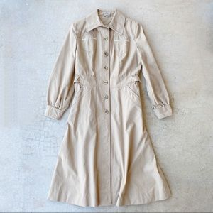 Vintage 80's Korean Tan Button Front Trench Coat